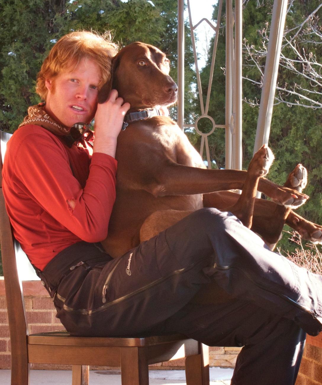 After ski på verandan med Justin och Bentley