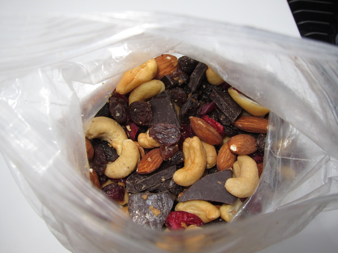 Nuts, dried fruit and of course, chocolate (with bacon for some reason)