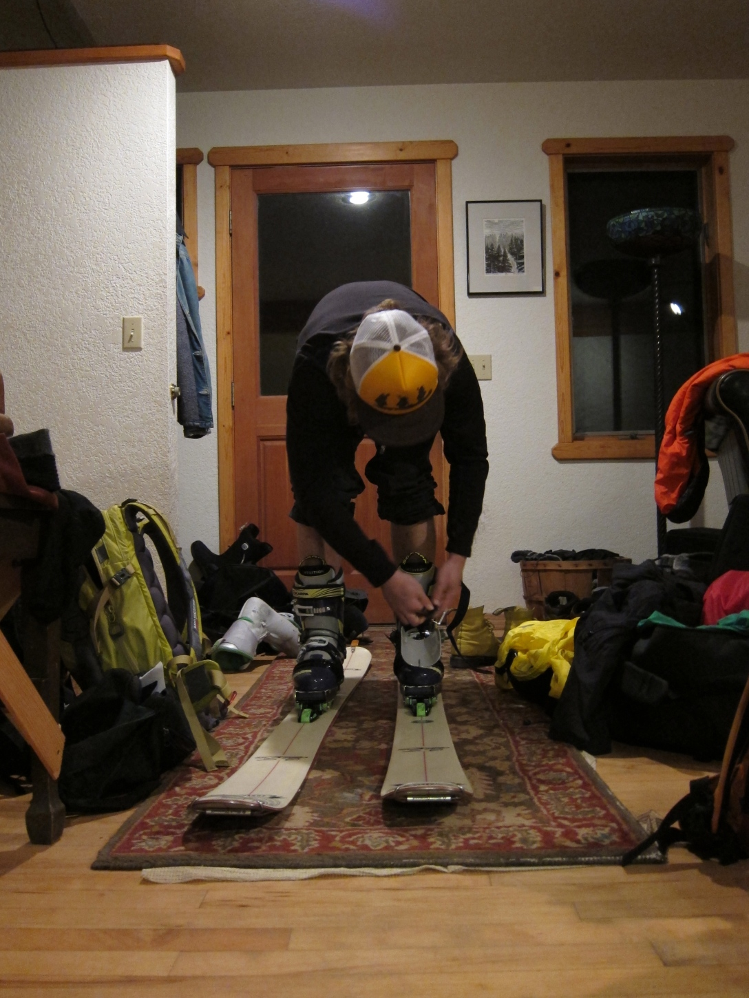 Gearing up: Martin with his new Telemark equipment. Not at all eager to get out and try them.