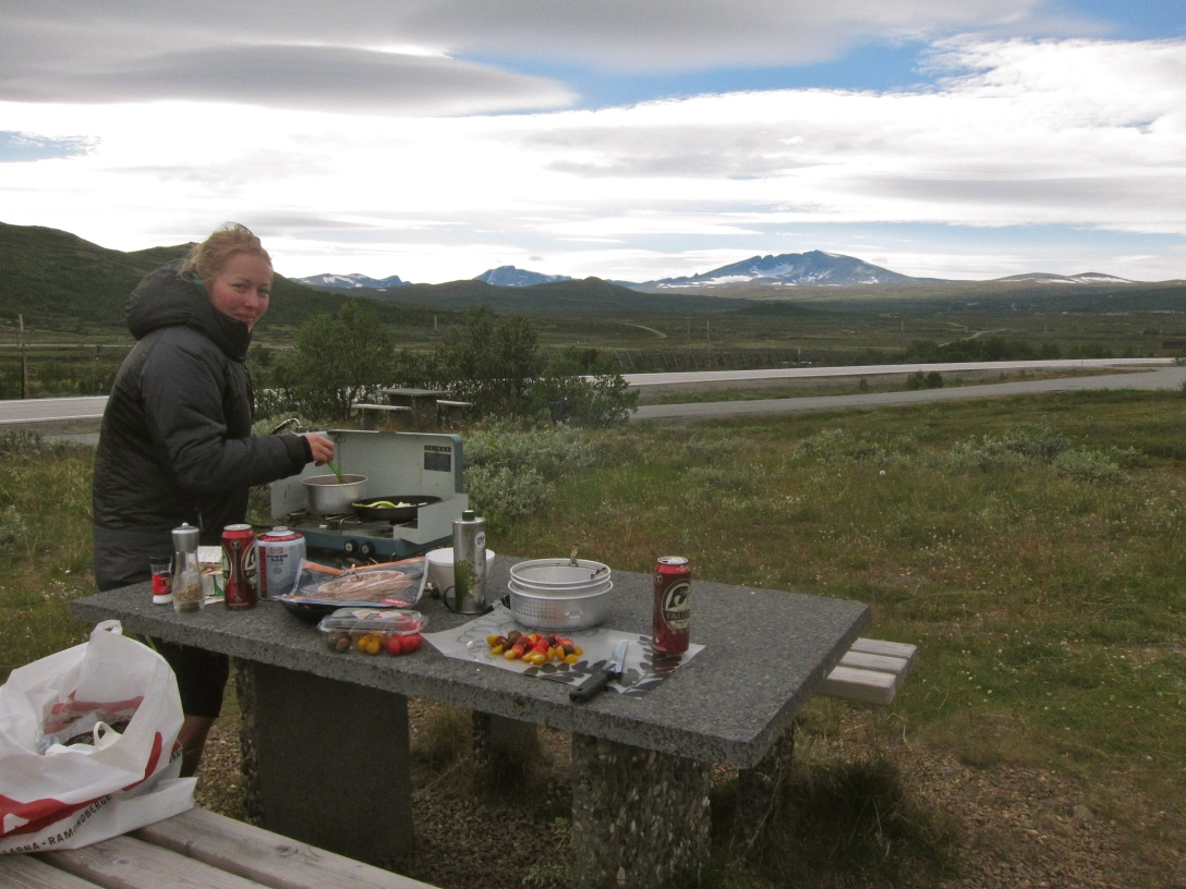 Dinner at Dovre with Snöhätta in the background