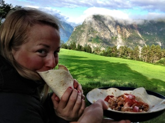 Breakfast burritos for dinner, with a view of course