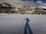 Santa doing it right, on skis in the Tetons