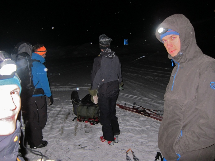 David, Martin and Aron getting ready to head into the dark.