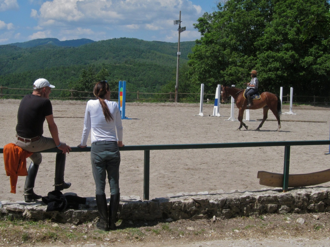 Lina and Pops enjoying the view of the paddock the first day in Spoleto