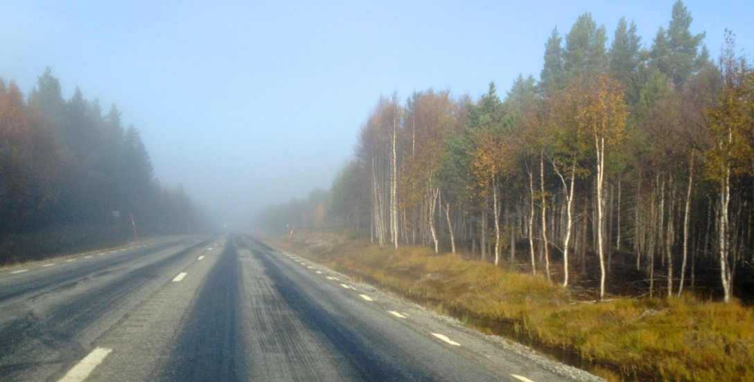 Morning mist on the road to Åsele