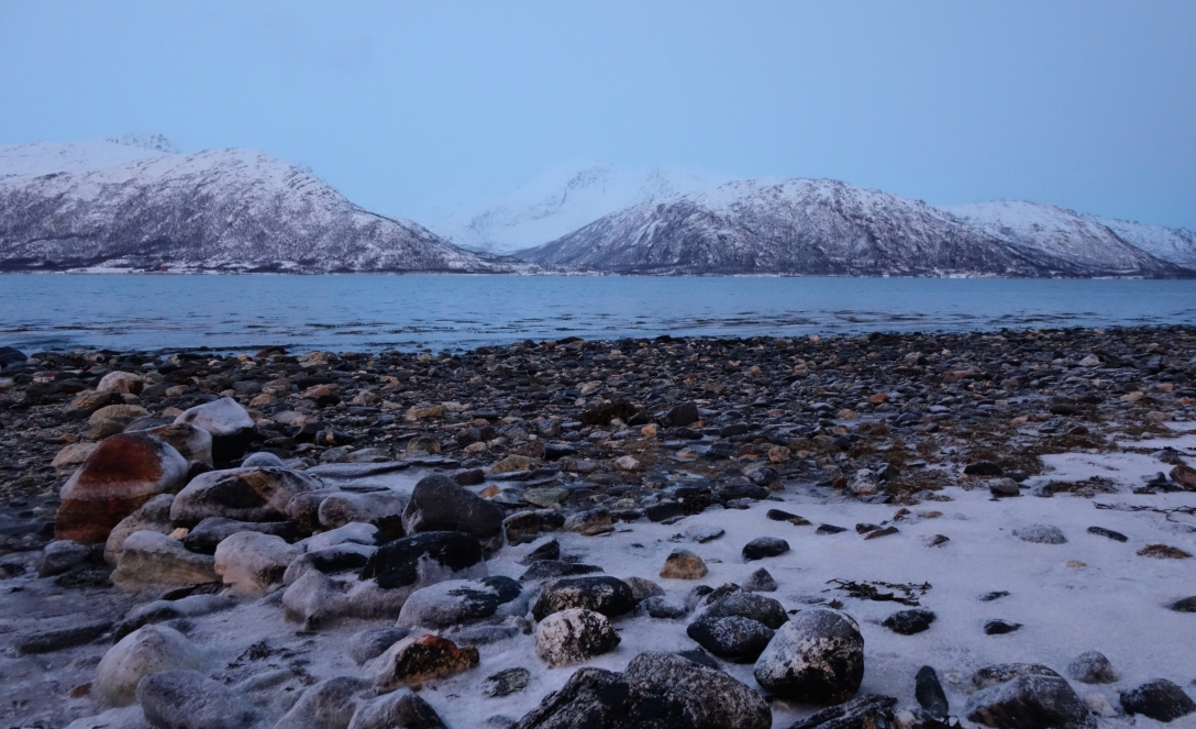 On the shore of the fjord, gazing at the mountains hiding in the arctic night.