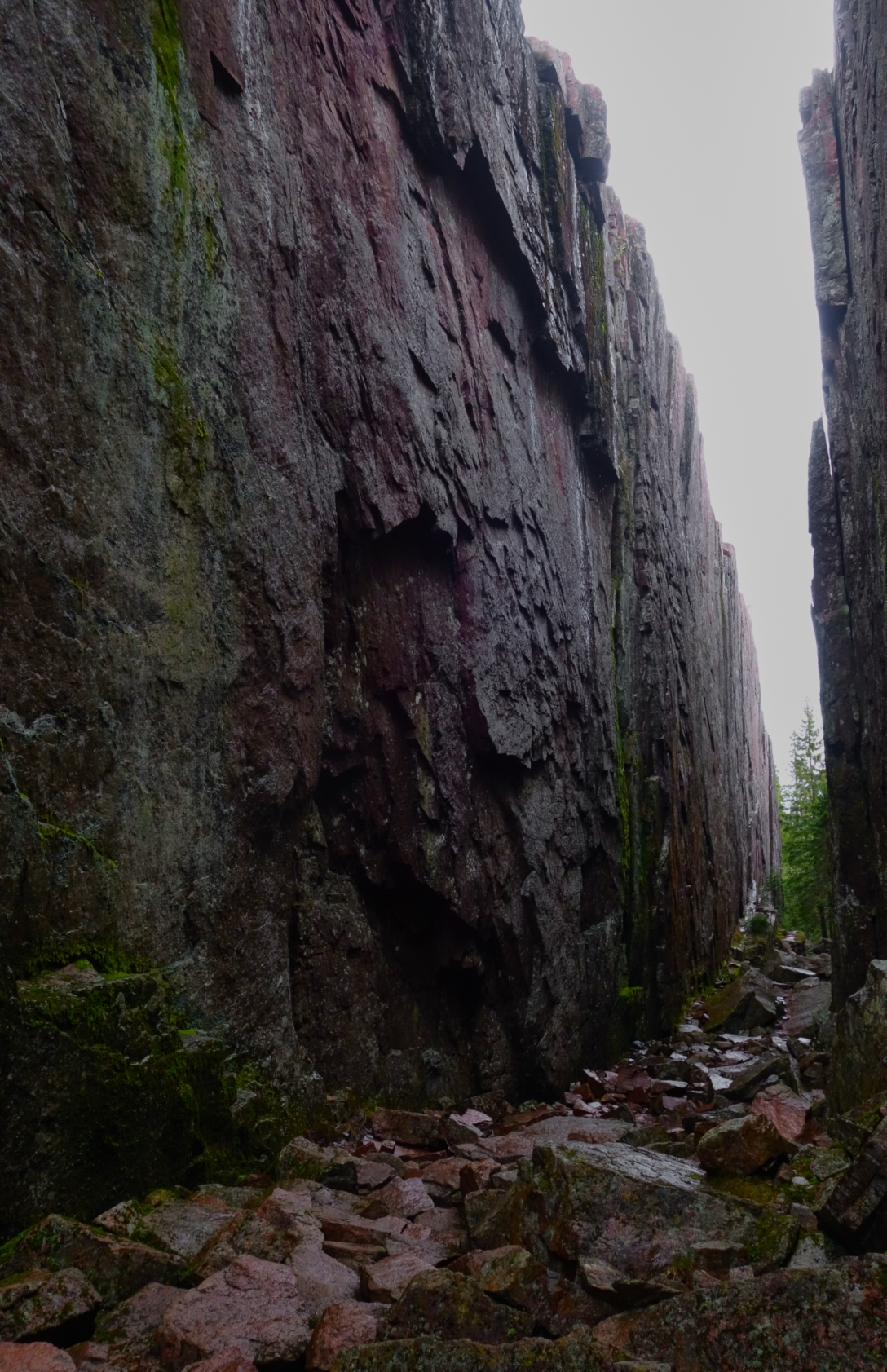 Wet cliff walls