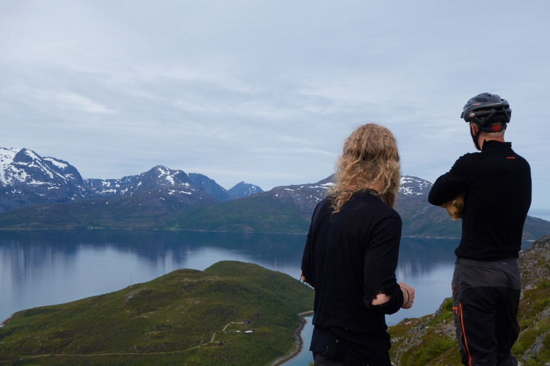 Gustav and Stian on the top of Durmålsfjellet. Vengsøya in the backround.