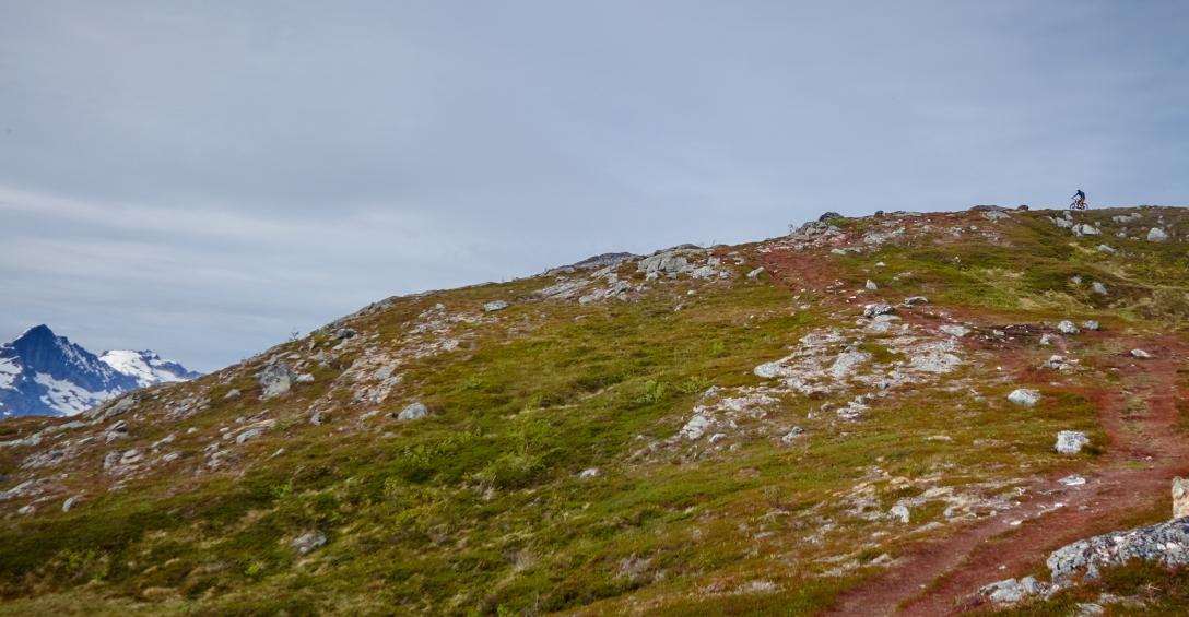 Martin coming down the trail on Durmålsfjellet.