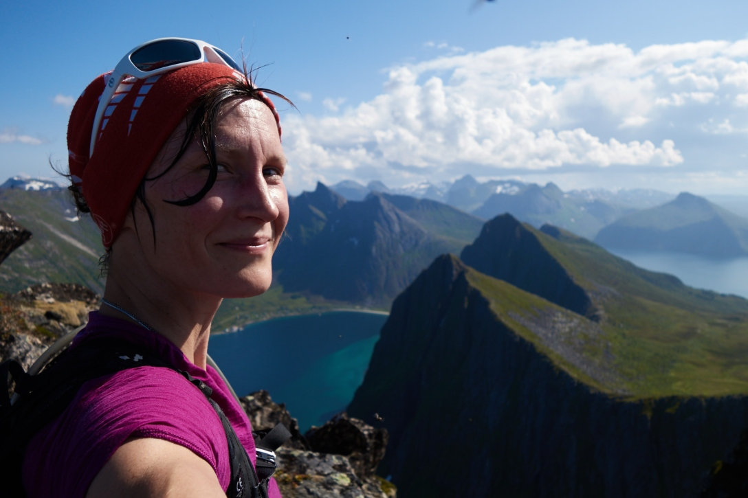 Me feeling extremely good about myself at the summit of Husfjellet. And the view.
