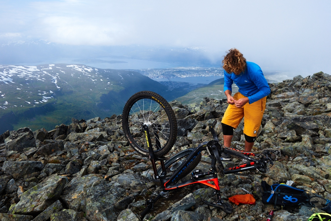 Repair work at the top of Tromsø.