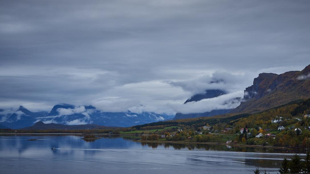 Calm water on the Lyngen fjord.