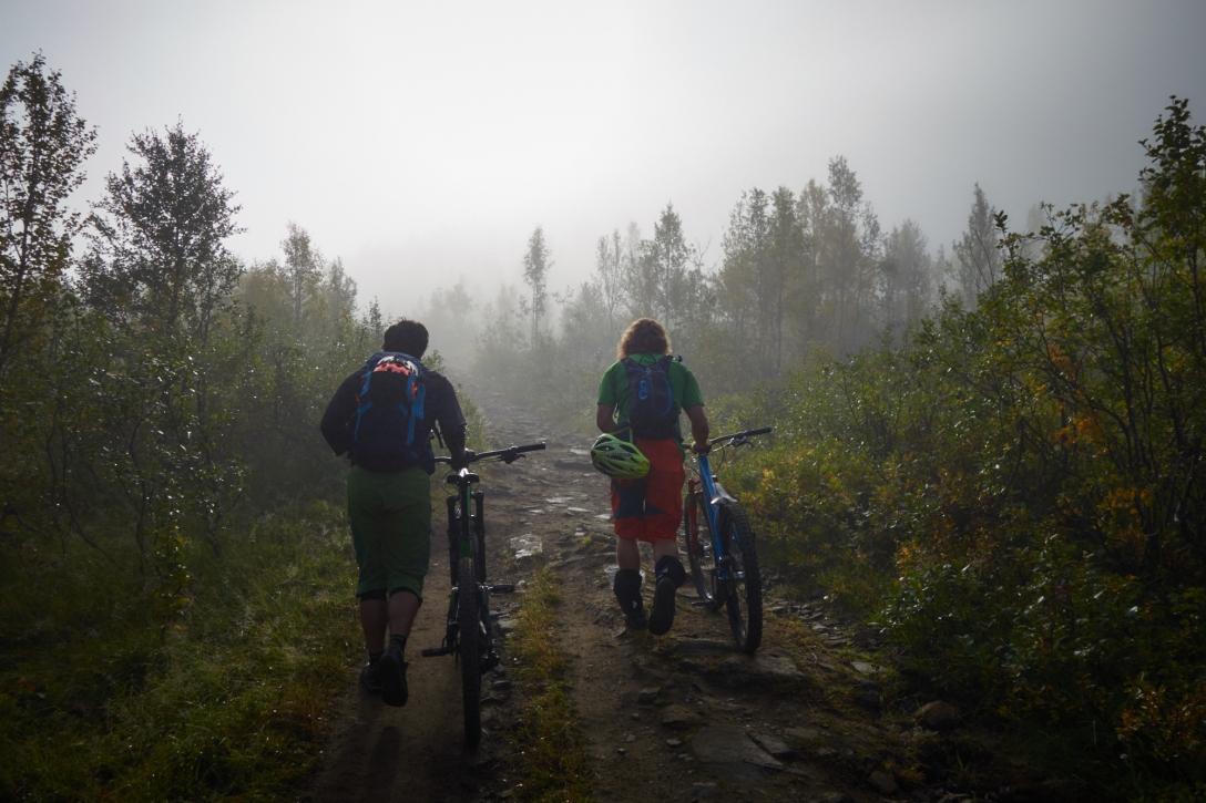 Martin and Jon walking through the mist.