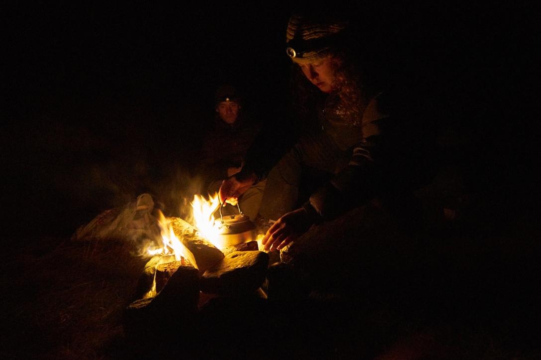 Kjersti, Kai, a fire and hot cocoa