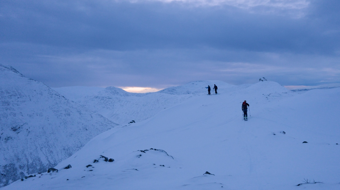 Linnea, Martin and Jon on the pre-summit of Tverfjellet.