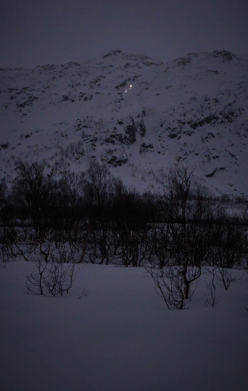 Two skiers heading down Steinskartind in the arctic night.