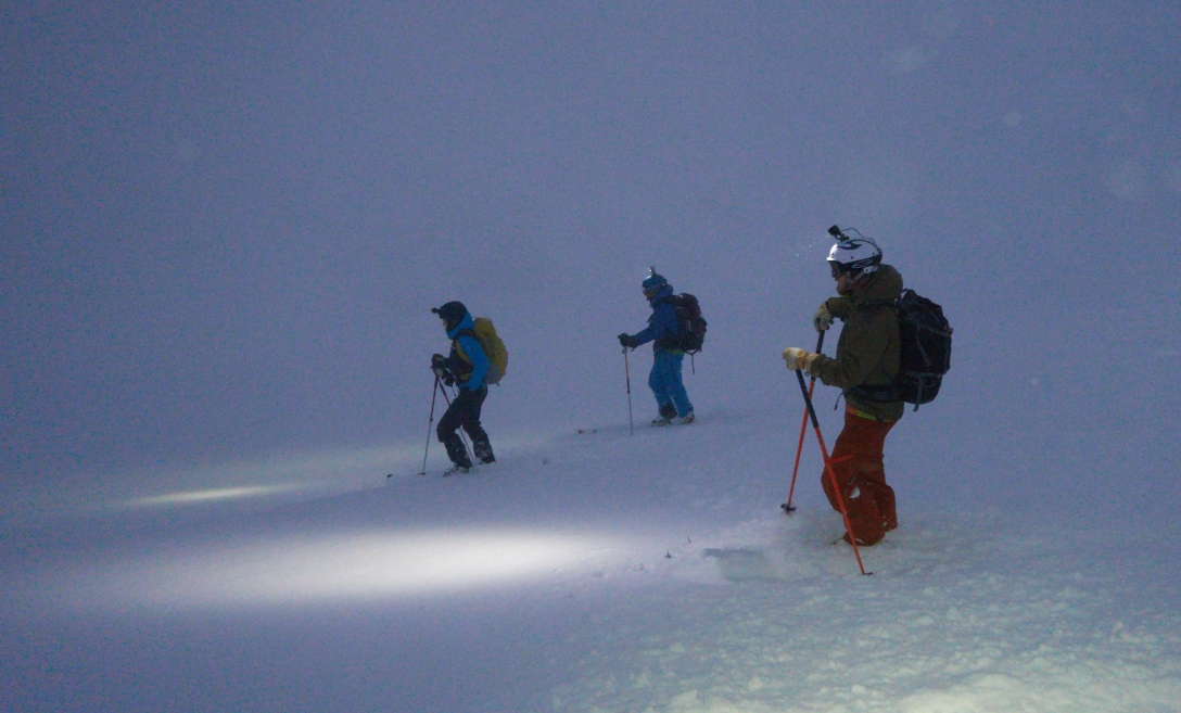 Gustav, Kai and Kenneth getting ready to harvest some powder on Skitntind.