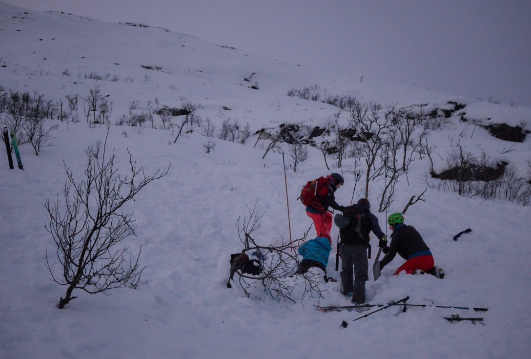 Sofia, Linda, Edda and Karin practicing search and rescue in our self-made debris.