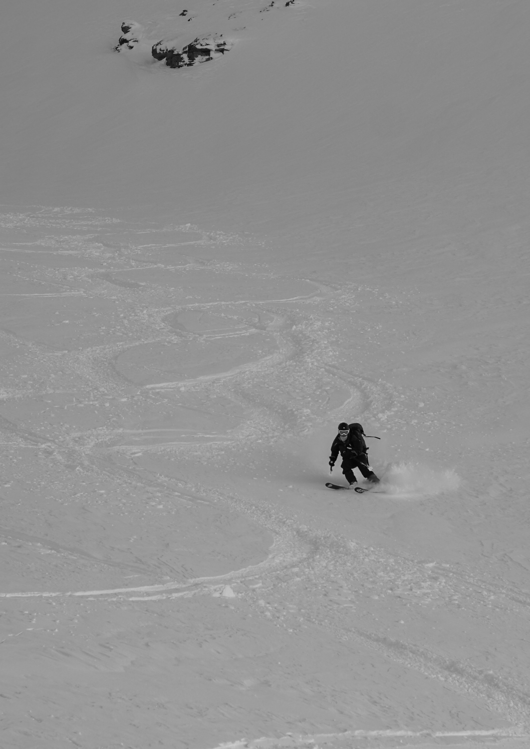 Linnea enjoying some much less hard pow.
