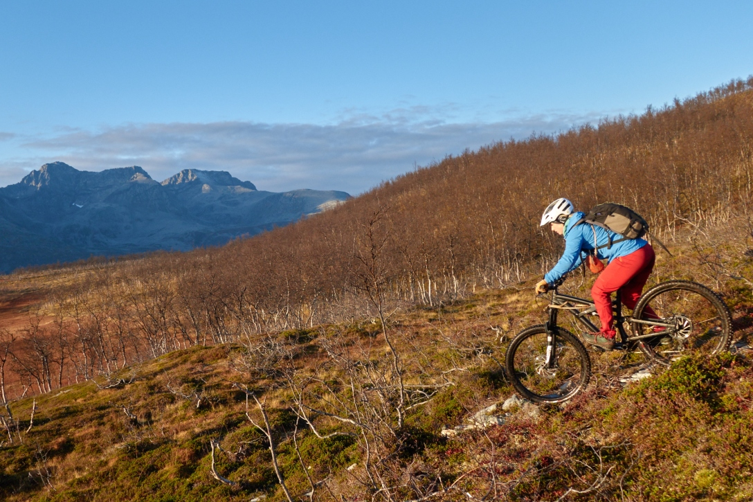 Karin trying out one of the trails at Reinøya.